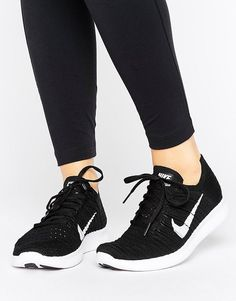 new arrivals 94f1c 463ff Nike Running Free Run Flyknit Trainer In Black Zapatillas Running Mujer, Zapatillas  Nike, Zapatos