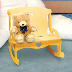 """Doll Furniture Love Seat Rocker DIY Woodcraft Pattern #1988 - Easy to assemble. No tools or hardware required. Just slide the pieces together for a sturdy attractive Love Seat Rocker for your dolls. 17""""H x 17""""W x 15""""D. Pattern by Sherwood Creations #woodworking #woodcrafts #pattern #craft #doll #furniture #rocker"""