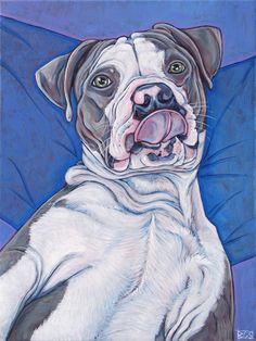 "12"" x 16"" Custom Pet Portrait Painting in Lucas the Pit Bull Custom Pet Portrait in Acrylic on Canvas Modern Wall Art, Pet Lover Gift or Pet www.petportraitsbybethany.com"