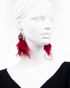CHERRY FEATHER DROP | cercei statement lungi cu pene Cherry, Feather, Drop Earrings, Modern, Jewelry, Fashion, Moda, Trendy Tree, Jewlery