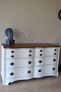 General Finishes Milk Paint In Basil, Glazed Her With Snow White And  Distressed Her Along The Edges Of The Drawers And Frame. The Hardware Is  Origiu2026