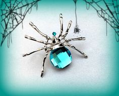 Turquoise Blue Spider Costume Jewelry by on Etsy Halloween Jewelry, Halloween Gifts, Halloween Party, Turquoise Jewelry, Cute Gifts, Best Gifts, Black Spider, Black Rhinestone, Accessories