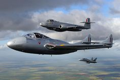 Temora Aviation Museum's de Havilland DH115 Vampire T35 (VH-VAM / A79-617) and Gloster Meteor F.8 (VH-MBX / A77-851) form up on a Royal Australian Air Force F/A-18 Hornet over Temora