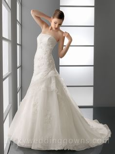 Floral Strapless Chapel Train A-Line Bridal Gown