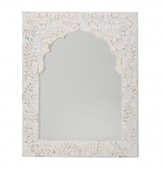 Kasbah Mother of Pearl Wall Mirror in White - ETA end Dec Moroccan Blue, Moroccan Style, Handmade Wall Mirrors, Mother Of Pearl Mirror, Mirror With Shelf, Indian Crafts, Beautiful Wall, Contemporary Design, Living Spaces
