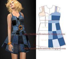 Modelagem de vestido com patchwork em jeans.
