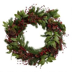 Instantly add season's greetings to any entryway or window. Our winter pinecone wreath is dispersed with dark red berries amongst a lush arrangement of greenery. Pine Cone Christmas Tree, Christmas Tree Ornaments, Christmas Wreaths, Red Berries, Pine Cones, Greenery, Holiday Decor, Diy, Diy Ornaments