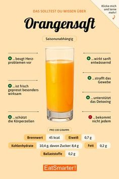 You should know about orange juice - Lebensmittel - Nutrition Healthy Juices, Healthy Nutrition, Healthy Drinks, Healthy Recipes, Paleo Diet, Juice Recipes, Healthy Food, Jus D'orange, Food Facts