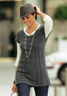 Swans Style is the top online fashion store for women. Knitting Designs, Knitting Patterns Free, Knit Patterns, Baby Knitting, Vest Pattern, Knit Vest, Chic Outfits, Knitwear, Knit Crochet