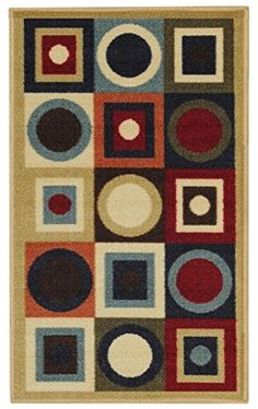 AntiBacterial Rubber Back DOORMAT NonSkidSlip Rug 18x30 Geometric Colorful Interior Entrance Decorative Low Profile Modern Indoor Front Inside Kitchen Thin Floor Runner DOOR MATS for Home -- Be sure to check out this awesome product.