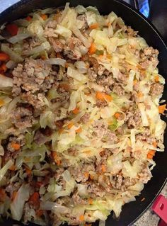 If you like egg rolls, this is amazing. I bag coleslaw mix 1 lb pork sausage 2 cloves garlic minced (or garlic pwdr) 1 tsp ground ginger Salt to taste 1/4 c onion diced Brown the sausage in a large skillet and add the other ingredients right on top. Cover and cook on the stovetop about 5 min on med. remove lid, stir/toss and taste. Finish to your taste/texture preference.