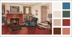 Traditional Living Room - 1920s earth tone color scheme - 1928 Armstrong Linoleum - Pine green, blue, coral, brick, and tan - Vintage Color