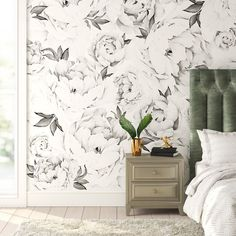 Rosdorf Park Tia Peony Floral and Botanical Matte Peel and Stick Wallpaper Tile Size: L x W, Color: Black/White Grey Floral Wallpaper, Black And White Wallpaper, Bathroom Wallpaper Floral, Textured Wallpaper, Bedroom Wallpaper Accent Wall, Wall Wallpaper, Master Bedroom With Wallpaper, Wallpaper Ceiling Ideas, Feature Wall Bedroom