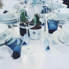 Table setting.  #blueelements Royal Copenhagen, Tablescapes, Scandinavian, Table Settings, Instagram Posts, Eat, Decor, Decoration, Table Scapes