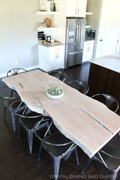 LOVE this table! Maple Live Edge Table with Milk Stain and Industrial Chairs #IndustrialChair