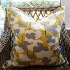 Chartreuse Flower Scatter Cushion with Oxford Edge Available including or excluding feather and down inner and in various sizes Cotton - Cold Wash Lead tim Scatter Cushions, Throw Pillows, Chartreuse, Indoor, Boutique, Flowers, Interior, Toss Pillows, Florals