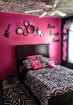 My Daughter's Zebra Bedroom with Hand painted zebra stripes on ceiling