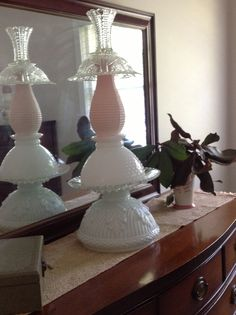 Pink and white milk glass totem