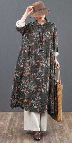 Loose Spring Floral Cotton Linen Dresses For Women 6119 - Pakistani dresses Dresses For Teens, Simple Dresses, Outfits For Teens, Casual Dresses, Floral Spring Dresses, Linen Dresses, Women's Dresses, Cotton Dresses, Hijab Fashion