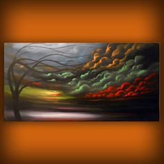 art painting abstract landscape tree painting  Mattsart on Etsy