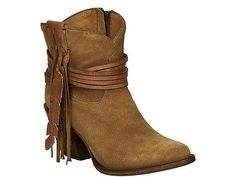 Lucchese M6001 Womens Light Tan Suede Zip Western Cowboy Short Boots with Fringe