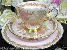 Tuscan Pink Gold Gilt Tea Cup and Saucer