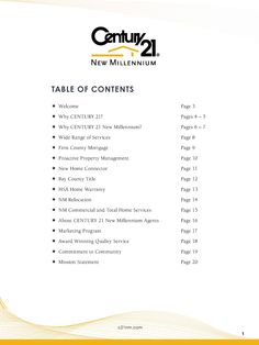 Listing presentation mission statement page 20 century - Marketing plan table of contents ...
