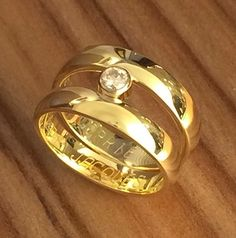 Made a new ring of two wedding rings Diamond Jewelry, Gold Jewelry, Stacked Wedding Rings, Gold Chain Design, Memorial Jewelry, Second Weddings, Ring Ring, Schmuck Design, Ring Designs