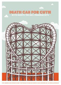 death cab for cutie with ted leo and pharmacists - gig poster