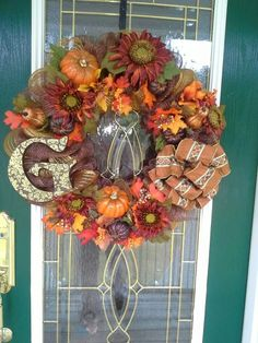 Beautiful Deco Mesh wreath works for fall, Thanksgiving and Halloween!