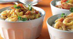 Indiska räkor i krämig kormasås Chicken Tikka Masala, Santa Maria, Potato Salad, Shrimp, Healthy Eating, Potatoes, Dessert, Mat, Ethnic Recipes