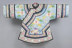 China, Woman's Short Robe, Pale blue silk damask with appliqués of multicolored silk plain weave and satin; pink silk plain weave, late c