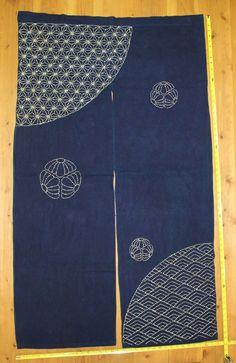 Vintage Japanese Indigo Cotton Sashiko Stitched Kimono Fabric NOREN Curtain in | eBay