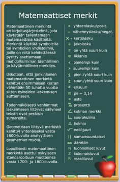 Matemaattiset merkit. Teacher Stuff, Maths, Physics, Classroom, Teaching, Education, Art, Class Room, Art Background