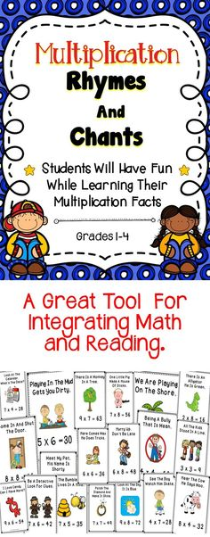 - This is a bundle of multiplication rhymes and chants to help improve student's fact recall skills.Multiplication - This is a bundle of multiplication rhymes and chants to help improve student's fact recall skills. Math Strategies, Math Resources, Math Activities, Classroom Resources, Classroom Ideas, Math For Kids, Fun Math, Maths, Teaching Math