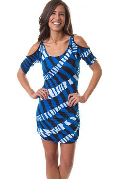 Round neck short sleeve multi stripe bodycon dress featuring ruched sides, shoulder cutouts, ruched sleeves, and open back. Great party dress that will give you curves. $9.95