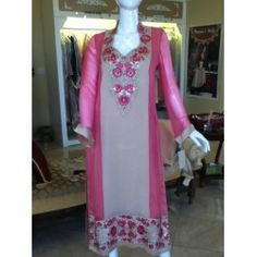 Threads and Motifs - pure chiffon with thread embroidery on neck and daman - buy online www.jiya-designs.com