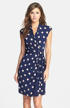 Free shipping and returns on Eliza J Polka Dot Jersey Faux Wrap Dress (Regular & Petite) at Nordstrom.com. Classic polka dots amp up the playful personality of this charming jersey dress styled in an effortlessly flattering faux-wrap design that's anchored by a coordinating sash. Extended shoulders and a mock collar add a more sophisticated tone to keep the look work-ready and polished.
