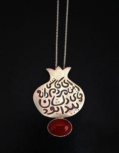 ALANGOO - Handmade Persian Poem on a Silver Pendant Necklace