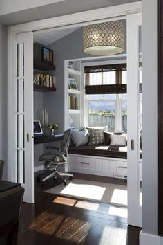 """View this Great Contemporary Home Office with Dark hardwood floors & Beadboard ceiling. Discover & browse thousands of other home design ideas on Zillow Digs."""