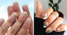 15 Diseños florales que te harán sentir como la reina de la primavera Henna Designs, Flower Designs, Cardi B Nails, Hot Pink Nails, Black Nails, Water Marble Nails, Fall Nail Designs, Simple Flowers, Nail Trends