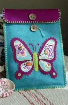 Bee Butterfly -- wool tech cover pattern by Black Mountain Needleworks - stitching embroidery how to DIY project design template pattern handmade sewing craft idea Felt Embroidery, Simple Embroidery, Felt Applique, Easy Felt Crafts, Crafts To Make, Fabric Crafts, Sewing Crafts, Sewing Projects, Craft Projects
