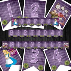 Awesome Alice in Wonderland Inspired Banner/Bunting Printable Invitations, Printables, Bunting Banner, Banners, September Birthday, Alice In Wonderland Birthday, Food Labels, Birthday Party Themes, Lettering