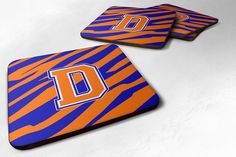 Set of 4 Monogram - Tiger Stripe - Blue Orange Foam Coasters Initial Letter D