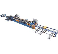 This JHL 310 506 speedway guard rail forming machine is a special forming device designed for producing the speedway guide rail. The hot rolled steel strip is leveled and punched by the machine then roll formed and cut into expressway guard rail roll forming machine.