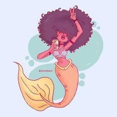 No photo description available. Black Girl Art, Black Women Art, Art Girl, Unicorns And Mermaids, Mermaids And Mermen, Black Mermaid, Mermaid Art, Mermaid Drawings, Art Drawings