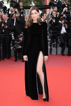 Laetitia Casta wore a black Saint Laurent gown, teamed with Boucheron jewellery. The Meyerowitz Stories premiere - May 21 2017