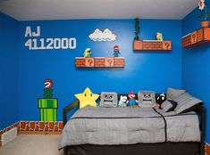 HT super mario bros room 04 jef 130917 608 Dad Gets 1 Up for Super Mario Bros. Super Mario Bros, Super Mario Brothers, Bedroom Themes, Kids Bedroom, Geek Bedroom, Bedroom Ideas, Bedroom Decor, Deco Gamer, Mario Room