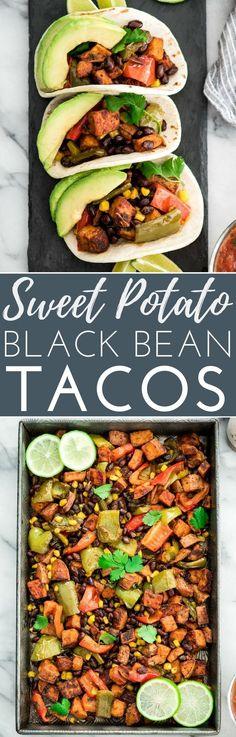Honey Lime Roasted Sweet Potato & Black Bean Vegetable Tacos