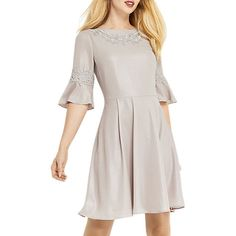 502ac6165948 Oasis Lace Trim Shimmer Skater Dress, Mid Grey at John Lewis & Partners